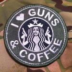 """I Love Guns & Coffee"" Velcro Patch, subdued"