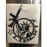 """Liberty""  4.5"" x 6"" vinyl die-cut sticker, various colors"